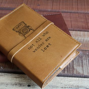 Not All Who Wander Are Lost Leather w/ Old Time Car Journal