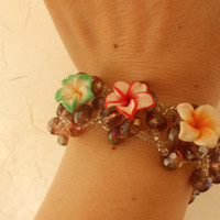flower bracelet, women accesories, jewelry, flower accesories, crytal beads