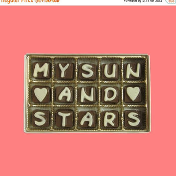 My Sun And Stars Cubic Milk & White Chocolate Letters Unique Cool 1st 1 Year Message Valentine Gift for Men Boyfriend Him Women Girlfriend