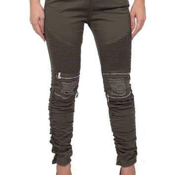 The Zipper Moto Pants in Olive