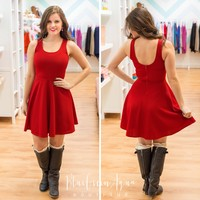 Red Line Texture Dress