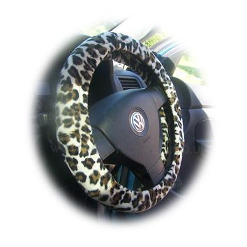 Snow leopard fuzzy faux Pony skin Velboa car steering wheel cover