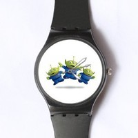 Custom TOY STORY Little Green Man Watches Classic Black Plastic Watch WT-0830