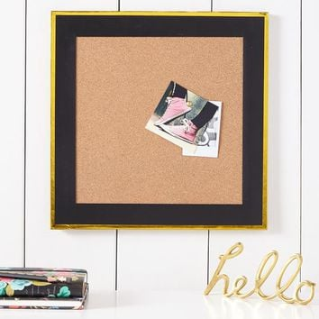 Paper Border Corkboard, Black With Gold Trim