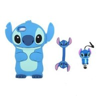 SilverCon 3D Blue Disney Stitch & Lilo Soft Silicone Case Cover For Apple iPod Touch iTouch 5 with FREE 3D Stitch Style Earphone Cord Winder and 3D Stitch Style Anti Dust Pen