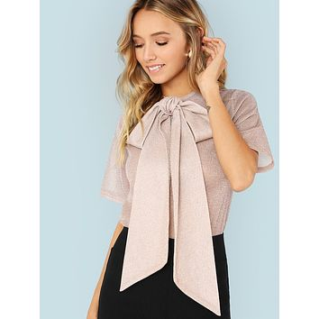 Exaggerate Bow Tie Neck Glitter Mesh Top Pink