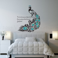 Peacock wall decal, love quote decal, wall sticker, wall graphic , room decal, vinyl decal in black
