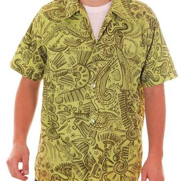 Vintage Mens Shirt Hawaiian Style Tribal Print Green 1970s Med