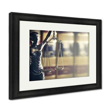 Framed Print, Burden Of Proof Moodily Lit Legal Law Concept Image With Scales Of Justice