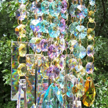 On Sale Crystal Wind Chime, Crystal Sun Catcher, Garden Décor, House Warming Gift, Glass Wind Chime, Gift for Her, Anniversary Gift , WC 129
