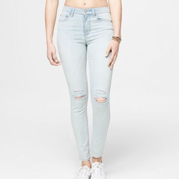 Seriously Stretchy High-Waisted Destroyed Light Wash Jegging