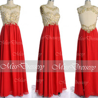 Red Prom Dresses, 2014 Prom Gown, Straps with Open Back Lace and Chiffon Long Red Prom Dresses, Red Lace Formal Gown