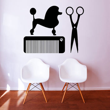 Grooming Salon Wall Decal Pet Shop Vinyl Sticker Decals Dog Comb Scissors Grooming Salon Decor Interior Art Murals Window Decal AN725