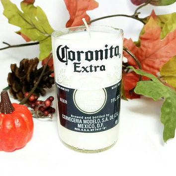 Recycled Beer Bottle Scented Soy Wax Candle/Miniature Corona Extra Bottle Candle/Mexico Coronita Botella de Cerveza/Pumpkin Pie Spice Scent
