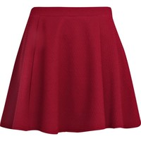Dark red textured skater skirt