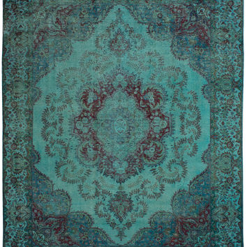 "9'4"" x 11'10"" Turquoise Vintage Persian Overdyed Rug"