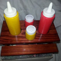 Vintage 5 Piece Picnic Table Set - Ketchup Mustard Dispensers - Salt and Pepper Shakers