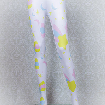 Starfall Printed Tights (Shooting Stars, Moons, and Sparkles)  Fairy Kei Pastel Goth Kawaii