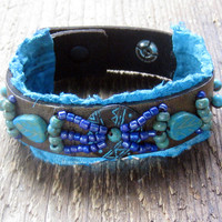 Tribal Beaded Leather Wrap Bracelet Bohemian Jewelry