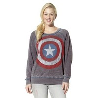 Junior's Captain America Long Sleeve Graphic Tee