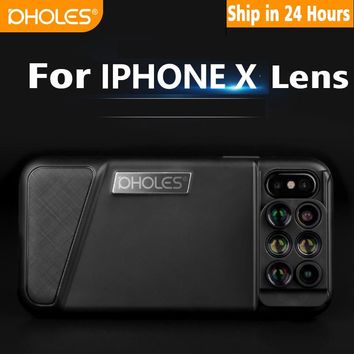 New For iPhone X Dual Camera Lens 6 in 1 Fisheye Wide Angle Macro Lens For iPhone X 10