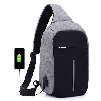 Soft Handle Anti-theft Waterproof USB Charge Backpacks