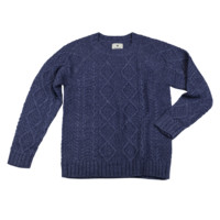 Cable Knit Pullover - Navy