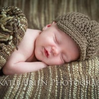Crochet Ribbed Newsboy/ Driving Cap 100% Brown Cotton Baby Hat All Sizes Choose Any Color Adorable Photo Prop and Functional Hat Unisex
