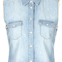 MOTO Raw Edge Crop Denim Shirt - Palm Springs - Clothing - Topshop USA
