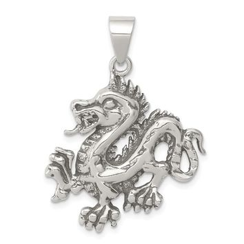 925 Sterling Silver Antiqued and Textured Chinese Dragon Shaped Pendant