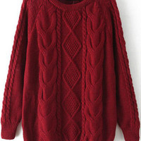 Fall Fashion Cable Knit Loose Wine Red Sweater