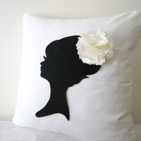 Elegant Feminine Bridal Silhouette White And Black Decorative Pillow Cover. 16inch Shabby Chic Cushion Cover. Bridal Shower Gift Girls Room Decor