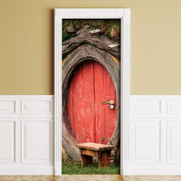 Sticker for Door / Wall / Fridge - Red oval door. Peel & Stick Removable Mural, Skin, Cover, Wrap, Decal, Poster