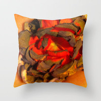 Burnt Flower Throw Pillow by Rhiannon