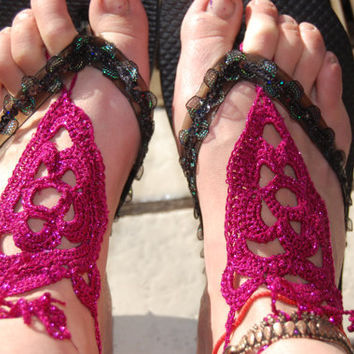 Glitter Sparkle Fuchsia Colored Crochet Goddess Night Out Pool Party Barefoot Foot Accessories Sandals