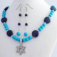 Star of David Turquoise Lapis Necklace Earrings Set