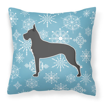 Winter Snowflake Great Dane Fabric Decorative Pillow BB3575PW1414