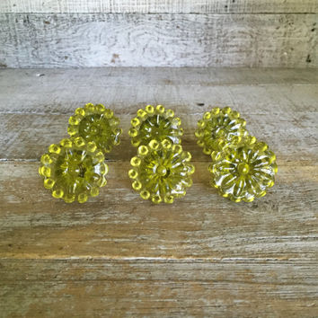Drawer Knobs 6 Glass Drawer Pulls Yellow Glass Flower Knobs Antique Drawer Knobs Mid Century Hardware Dresser Drawer Pulls Cabinet Knobs
