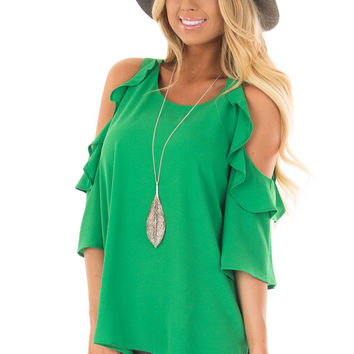Kelly Green Cold Shoulder 3/4 Sleeve Top with Ruffle Detail