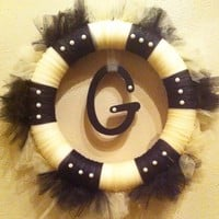 Monogram Wreath Custom Initial for Front Door Wedding Tulle