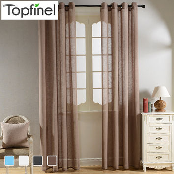 Top Finel Solid Faux Linen Sheer Curtains for Living Room Bedroom Yarn Curtains Tulle for Window Kitchen Home Voile Curtains