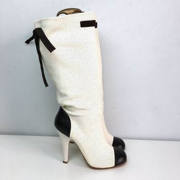 Gianmarco Lorenzi women's black & white perforated boots sz 9 1/2