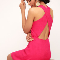 Cardena Fuchsia Button Front Backless Skater Dress