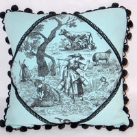 "Aqua Toile Throw Pillow  Hand Dyed Turquoise Blue and Black PomPoms 16"" Square Cover and Insert Ready to Ship OOAK"