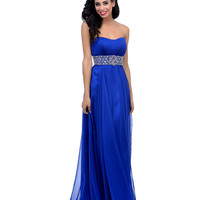 Royal Blue Beaded Chiffon Pleated Strapless Sweetheart Long Dress Prom 2015