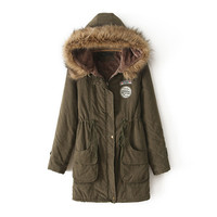 Army Green Pocket Elastic Waist Parka Coat