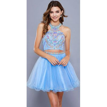 Ice Blue Two-Piece Halter Homecoming Dress Beaded Crop Top
