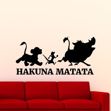 Hakuna Matata Lion King Wall Sticker Cartoon Timon Pumbaa Vinyl Wall Murals Home Nursery Bedroom Cute Lovely Decor Poster Wm-127