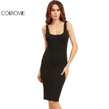 COLROVIE Black Basic Ribbed Summer Dress Plus Size 2017 Double Scoop Women Brief Tank Dresses Sleeveless Sexy Sheath Midi Dress