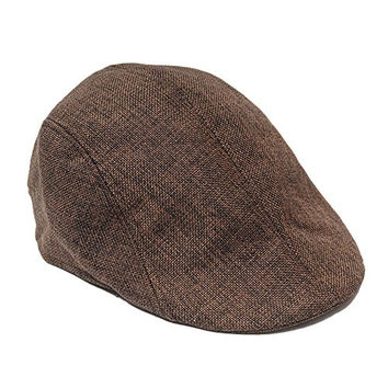 YING LAN Men's Herringbone Tweed Newsboy Cabbie Driving Hat Golf Cap Brown